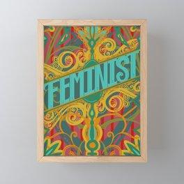 Boho Feminist Ornate Floral Scroll Style Design Framed Mini Art Print
