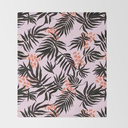 Pink tropical fantasy Throw Blanket