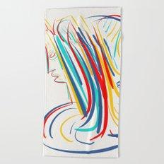 Expressionist Minimal Pop Portrait Beach Towel