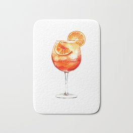 Cocktails. Aperol Spritz. Watercolor Painting. Bath Mat
