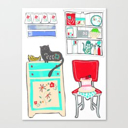 Happy Cat in Vintage Kitchen (1 of 2) Canvas Print