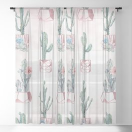 Desert Potted Cactus and Succulents Rose Gold Pink Sheer Curtain