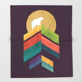 Lingering mountain with golden moon Throw Blanket