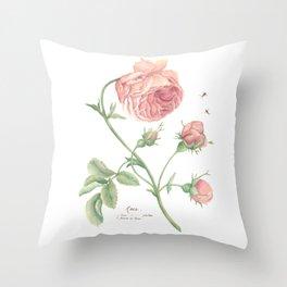 Rustic Rose Botanical Watercolor Throw Pillow