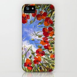 Red flowers poppies poppy flower landscape sping floral field in grass in shape of heart backgroud iPhone Case