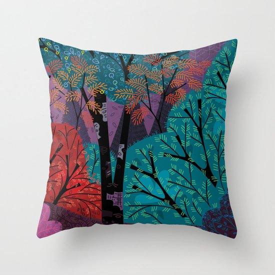 Vivid Forest (right) Throw Pillow