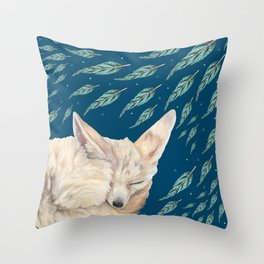Fennec Fox Feather Dreams in Turquoise Throw Pillow