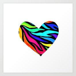 Rainbow Zebra Print Heart! Art Print