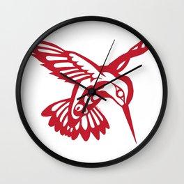 Hummingbird Red on black Wall Clock