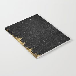 Faux Gold and Black Starry Night Brushstrokes Notebook