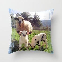 Ewe and Twin Spring Lambs Throw Pillow
