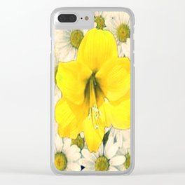 DECORATIVE YELLOW AMARYLLIS WHITE DAISIES FLORAL Clear iPhone Case