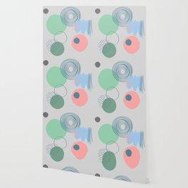 nordic scandinavian minimalist abstract grey blue pink mint green dots circle  Wallpaper