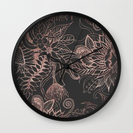 Chic Rose Gold and Black Flowers Leaves Wall Clock