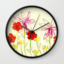 Autumn flower prairie Wall Clock