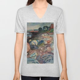 Shore with Red House by Edvard Munch Unisex V-Neck