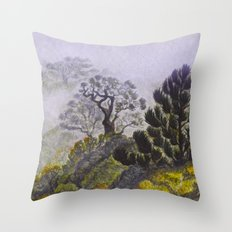 Reserve Langbiang in fog Throw Pillow