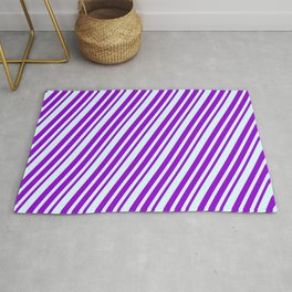 Dark Violet and Light Cyan Colored Lines Pattern Rug