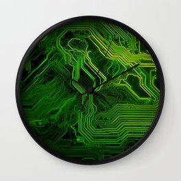 Green glowing circuit - by Brian Vegas Wall Clock