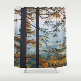 Earthscape Landscape Photography Tall Autumn Fall Trees Overlooking Fields Shower Curtain