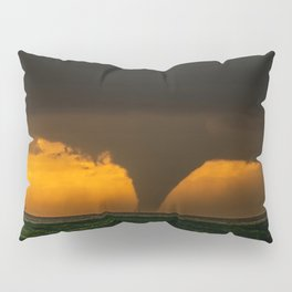 Silhouette - Large Tornado at Sunset in Kansas Pillow Sham