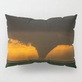Silhouette - Large Tornado at Sunset in Kansas Pillow Sham