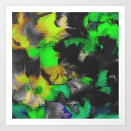 green black and yellow spiral painting Art Print