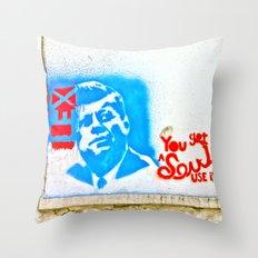 J.F.K. Street Art Throw Pillow