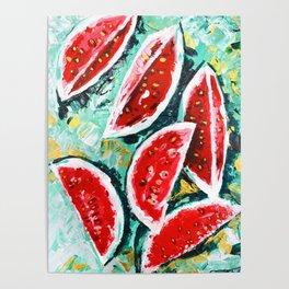 watermelon acrylic art Poster
