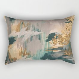 Teal and Gold Abstract- 24K Magic Rectangular Pillow