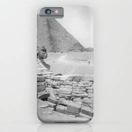 Sphinx, Pyramid, and Ruins, Giza, Egypt black and white photography - black and white photographs iPhone Case