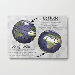 Latitude and Longitude Print Metal Print