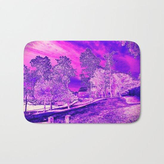 Pink N Purple Rural Scene Bath Mat