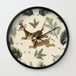 winter deer // repeat pattern Wall Clock