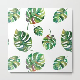 Watercolor Palm Leaves Metal Print