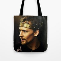 tom hiddleston Tote Bags featuring Tom Hiddleston as Henry V by Wisp Wool