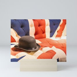 Black Bowler Hat on Union Jack Chesterfield Sofa Mini Art Print