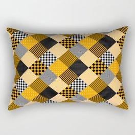 Orange Black and White Diagonal Country Patchwork Quilt Rectangular Pillow
