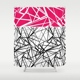 Black and white abstract geometric pattern with red inlay . Shower Curtain