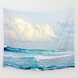 Blue Water Fluffy Clouds Wall Tapestry