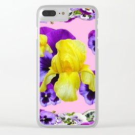 PINK COLOR PURPLE & WHITE PANSIES YELLOW IRIS Clear iPhone Case