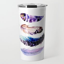 Watercolor feathers painting Travel Mug