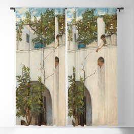 John William Waterhouse - Lady on a Balcony, Capri Blackout Curtain