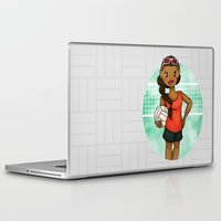 volleyball Laptop & iPad Skins featuring Volleyball Girl by Everybody Illustrated