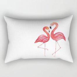 Flamingo Love Watercolor Painting Rectangular Pillow