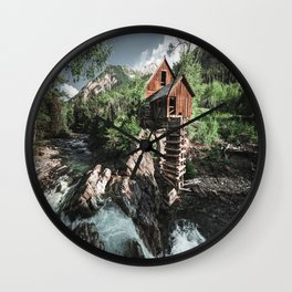 cabin lost in the waterfall Wall Clock