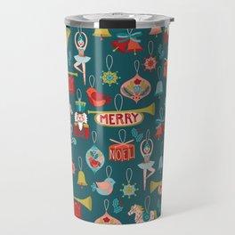 Teal Christmas Ornament Pattern Travel Mug