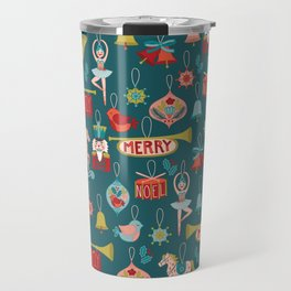 Teal Christmas Ornament Pattern Travel Mug
