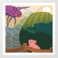 The spider and the pig Art Print