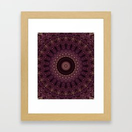 Mandala in dark purple and golden colors Framed Art Print